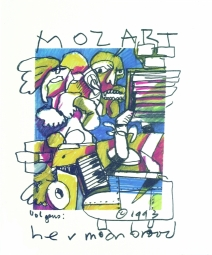 Herman Brood litho Mozart Amadeus