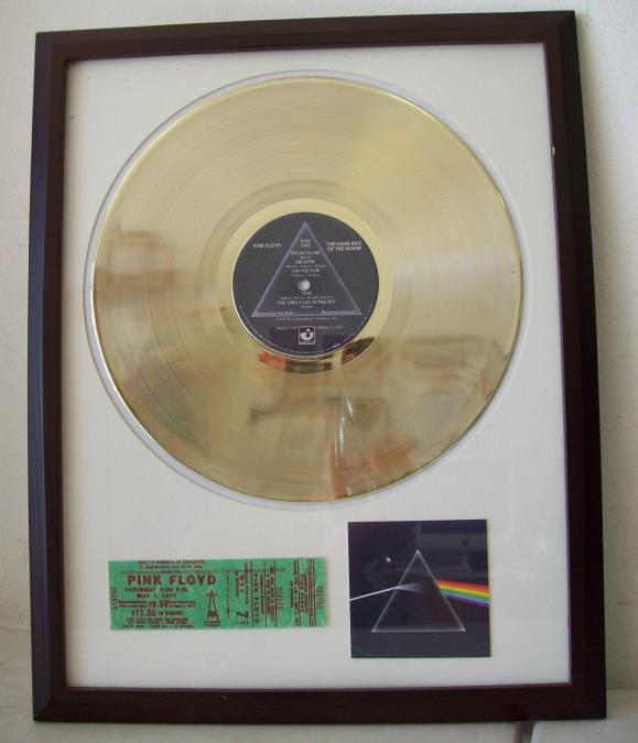 Gouden plaat Lp Pink Floyd Dark Side of the moon